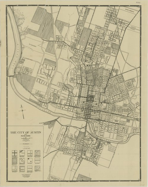 1925 City of Austin and Suburbs map