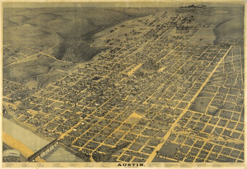 1887 Birdseye view of Austin Texas