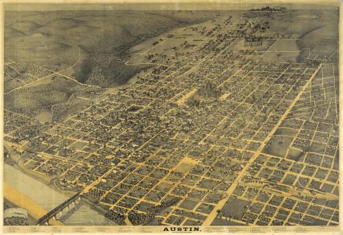 1887 Birdseye view of Austin Texas