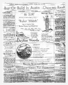 Advertisement for Bryker Woods & Pemberton Heights Neighborhoods from the Austin American Statesman 1939